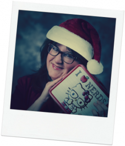 Beth with Lunchbox and holiday hat