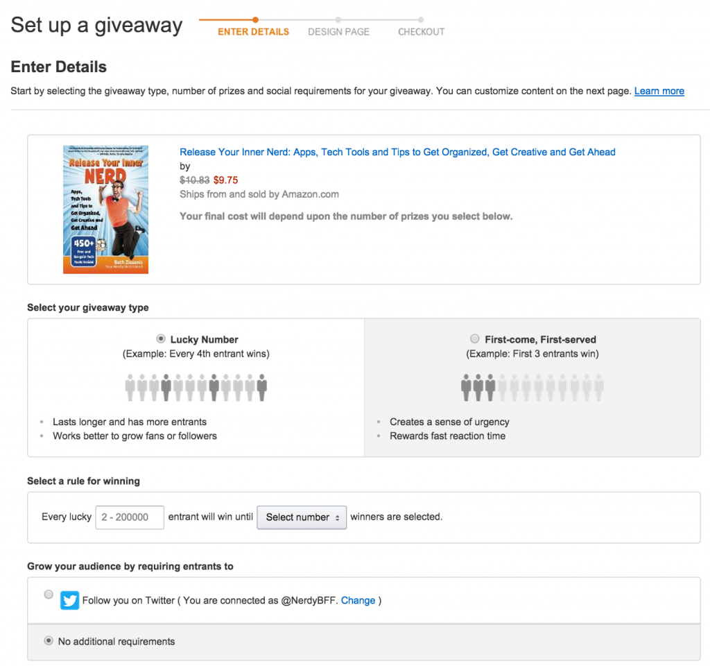 set up an amazon giveaway amazon giveaways an intriguing experiment your nerdy 1772