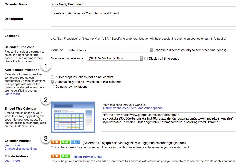 Google Calendar Sharing Options