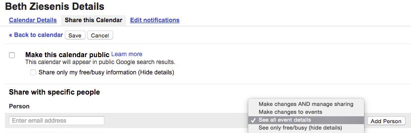 Share Google Calendar